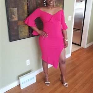 pink split off shoulder sexy dress